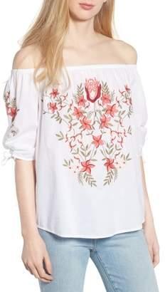 Hinge Embroidered Off the Shoulder Top