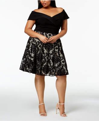 Xscape Evenings Plus Size Off-The-Shoulder A-Line Dress
