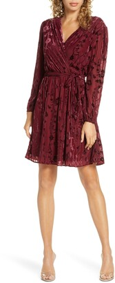 Fraiche by J Velvet Burnout Long Sleeve Faux Wrap Dress