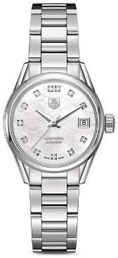 Tag Heuer Automatic Stainless Steel and White Mother of Pearl Dial Watch with Diamonds, 28mm