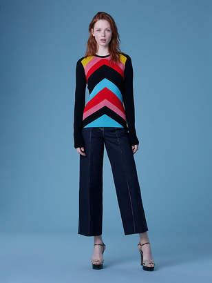 Diane von Furstenberg Crew Neck Rainbow Sweater