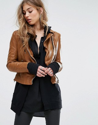 Muubaa Contrast Zip Biker Jacket $364 thestylecure.com
