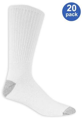 Athletic Works Men's Big & Tall Athletic Cushioned Crew Socks Value 20 Pack