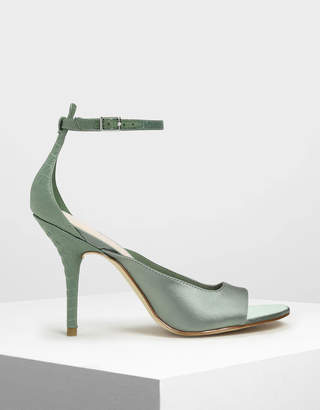 Charles & Keith Satin Ankle Strap Heels