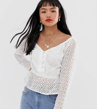 Miss Selfridge Petite broderie top with peplum in white