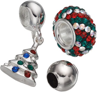 Individuality Beads Crystal Sterling Silver Bead & Christmas Tree Charm Set