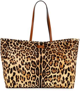 Valentino Garavani Rockstud Leopard Canvas Tote Bag