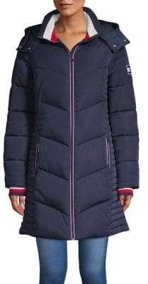 Tommy Hilfiger Long Chevron Quilted Puffer Coat