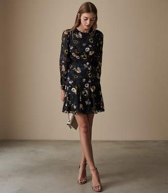 Reiss ALLIE FLORAL BURNOUT DRESS Multi