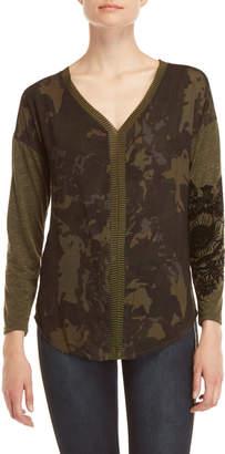 Desigual Camouflage V-Neck Top