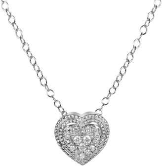 Fine Jewellery Sterling Silver 0.1 CT. T.W. Diamond Heart Pendant Necklace
