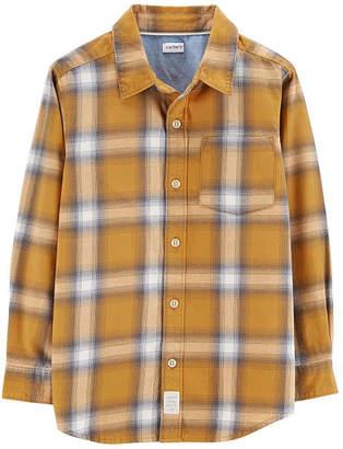 Carter's Spread Collar Long Sleeve Plaid Flannel Shirt-Preschool Boys