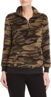 RD Style Camo Fluffy Quarter-Zip Sweater