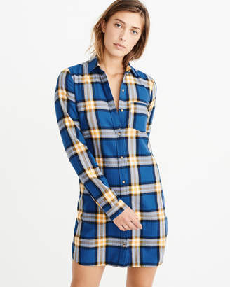 Abercrombie   Fitch A F Women s Flannel Shirt Dress in Blue - Size ... 349a21a2e
