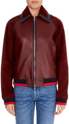 Victoria Victoria Beckham Zip-Front Leather Bomber Jacket w/ Ribbed Hem & Cuffs