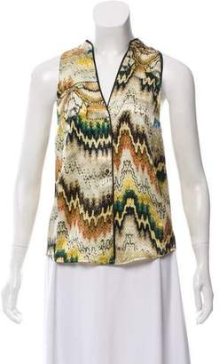 Burning Torch Silk Abstract Top