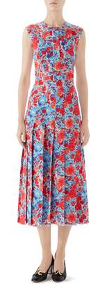 Gucci Floral Print Pleated Silk Midi Dress