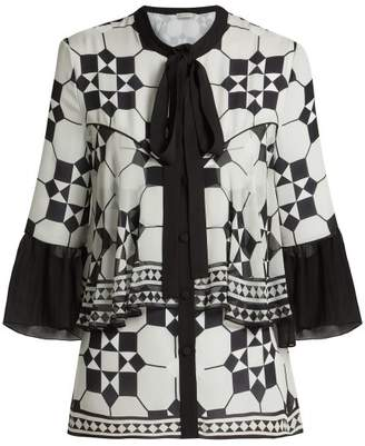 Mary Katrantzou Milana Tile Print Silk Georgette Top - Womens - Black White