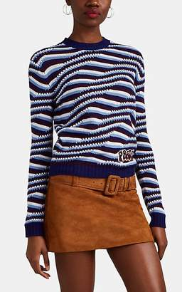 Prada Women's Logo Wavy-Striped Cashmere Sweater - Blue