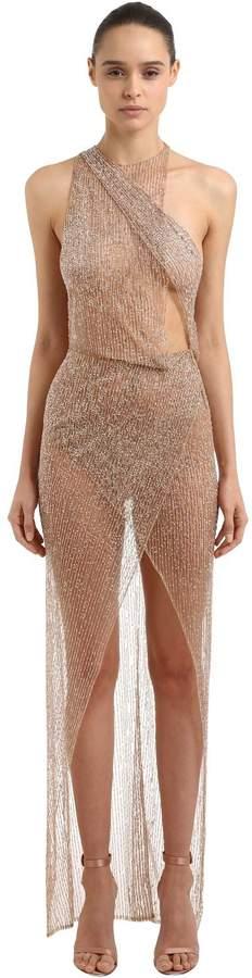 Sheer One Shoulder Embroidered Dress