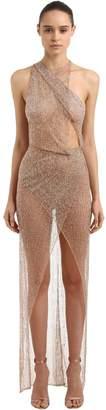 Julien Macdonald Sheer One Shoulder Embroidered Dress