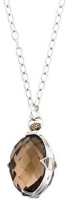 Monica Rich Kosann Smoky Quartz & Sapphire Locket Pendant Necklace