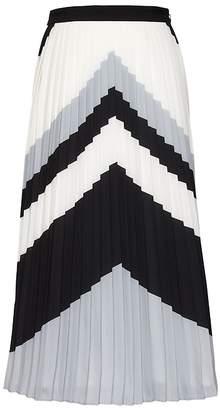 Banana Republic Petite Chevron Pleated Midi Skirt