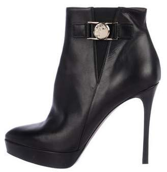 Versace Leather Platform Ankle Boots