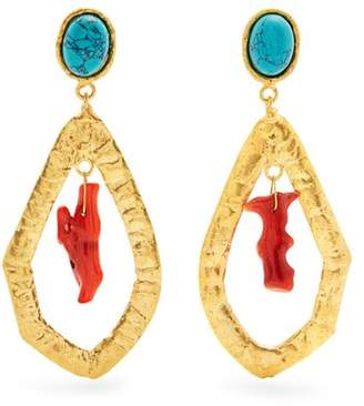 Sylvia Toledano - Corail Gold Plated Clip On Drop Earrings - Womens - Coral Turquoise