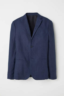 H&M Slim Fit Linen Blazer - Dark khaki green - Men
