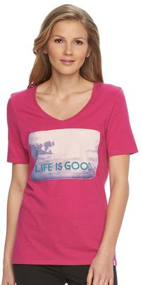 Women's Life is Good Graphic V-neck Tee $30 thestylecure.com