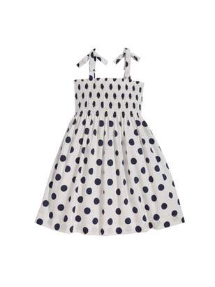 Oscar de la Renta Polka Dot Smocked Cotton Dress