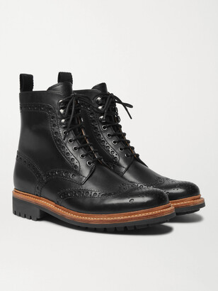 Grenson Fred Leather Brogue Boots - Men - Black