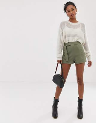 Asos Design DESIGN shorts in jersey crepe with belt and tortoiseshell D-rings