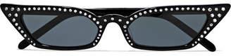 Cat Eye Poppy Lissiman - Le Skinny Luxe Cat-eye Crystal-embellished Acetate Sunglasses - Black