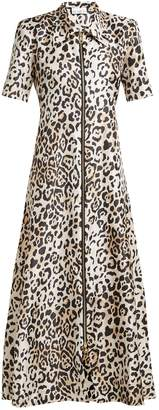 Raey Zip-front leopard-print twill dress