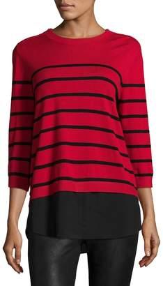 Karl Lagerfeld Women's Stripe Ribbed Top