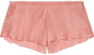 Carine Gilson Chantilly Lace-trimmed Silk-satin Pajama Shorts - Antique rose