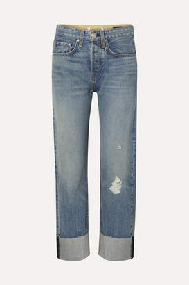 Rag & Bone Maya Distressed Cropped High-rise Straight-leg Jeans - Mid denim