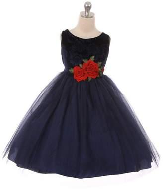 Kids Dream Velvet Rose Patch Girl Dress Navy