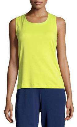 Joan Vass Sequined Trim Tank, Wild Lime