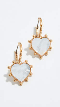 Tory Burch Semi Precious Heart Charm Earrings
