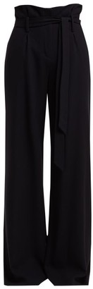 Goat Wool Crepe Wide Leg Trousers - Womens - Navy