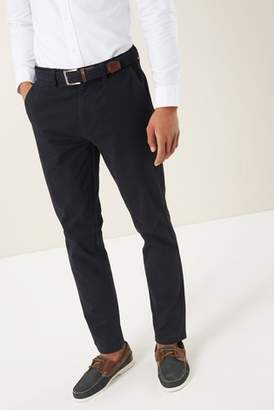 Next Mens Navy Slim Fit Belted Chinos