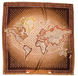 Louis Vuitton Monogram Map Silk Square Scarf