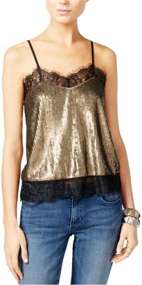 GUESS Womens Sequined Lace Trim Camisole Top Gold L