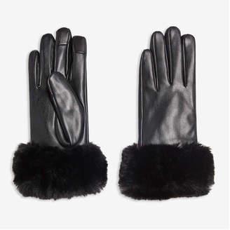 Joe Fresh Women's Faux Fur Cuff Gloves, Black (Size L/XL)