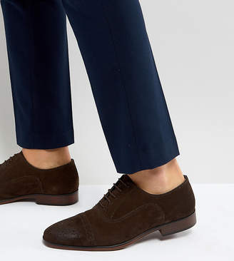 Asos Design Wide Fit Brogue Shoes In Brown Suede With Natural Sole