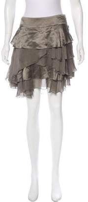 Philosophy di Alberta Ferretti Silk Ruffled Mini Skirt
