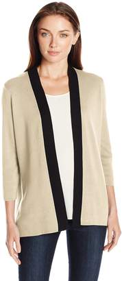 Sag Harbor Women's Full Needle Color Block Cardigan